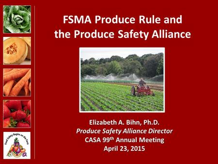 FSMA Produce Rule and the Produce Safety Alliance Elizabeth A. Bihn, Ph.D. Produce Safety Alliance Director CASA 99 th Annual Meeting April 23, 2015.
