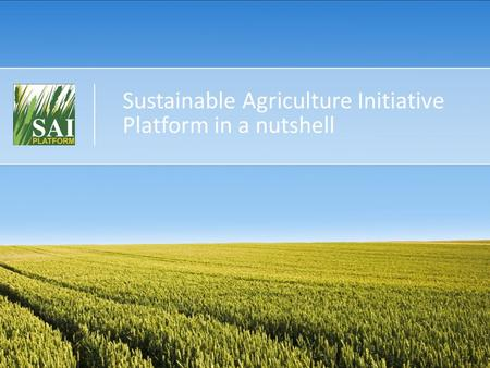 Sustainable Agriculture Initiative Platform in a nutshell