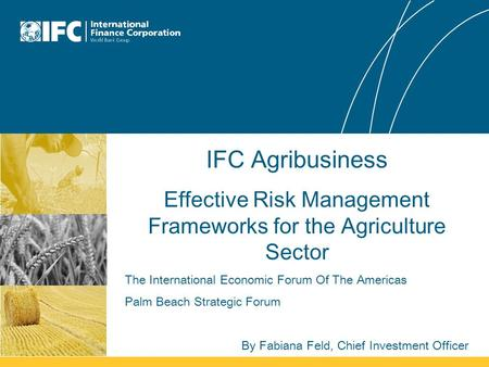 IFC Agribusiness Effective Risk Management Frameworks for the Agriculture Sector The International Economic Forum Of The Americas Palm Beach Strategic.