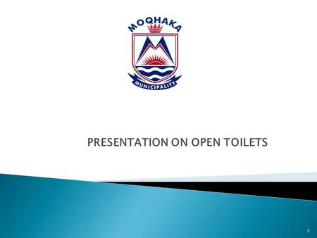 PRESENTATION ON OPEN TOILETS 1. This presentation serves to provide background and report on progress regarding the construction of toilet top structures.