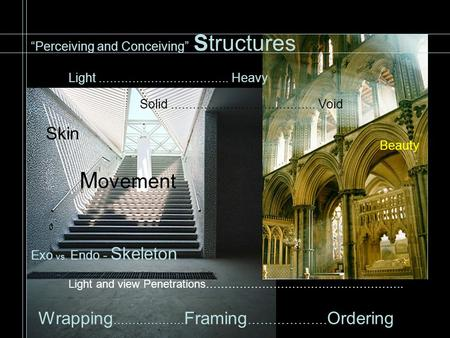 """Perceiving and Conceiving"" Structures Exo vs. Endo - Skeleton Light and view Penetrations…………………………………………….. Skin Wrapping ………………. Framing ………………. Ordering."