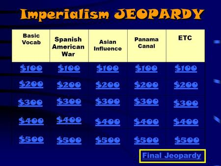 Imperialism JEOPARDY Basic Vocab Panama Canal Asian Influence Spanish American War ETC $100 $200 $300 $400 $500 $100 $200 $300 $400 $500 Final Jeopardy.