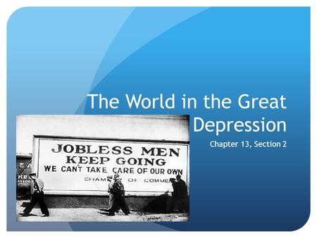 The World in the Great Depression