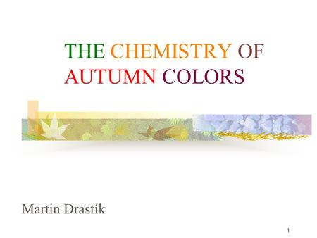 1 THE CHEMISTRY OF AUTUMN COLORS Martin Drastík. 2 Why would I like to speak about this topic? Sad but beautiful.