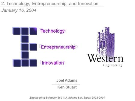 Joel Adams Ken Stuart Engineering Science 466b © J. Adams & K. Stuart 2002-2004 2: Technology, Entrepreneurship, and Innovation January 16, 2004.