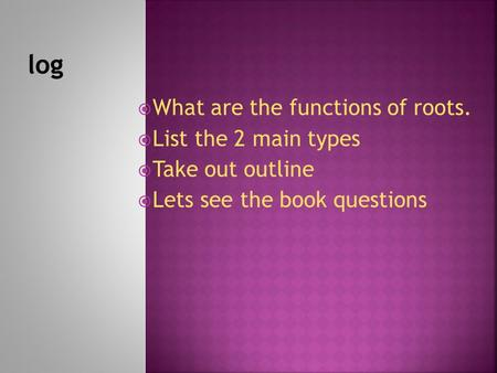  What are the functions of roots.  List the 2 main types  Take out outline  Lets see the book questions.