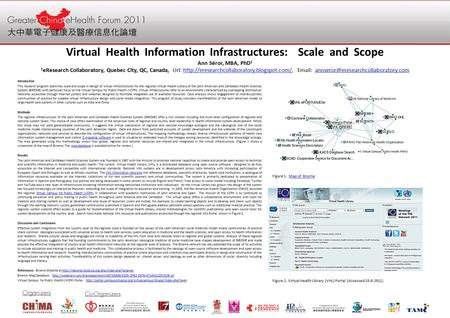Virtual Health Information Infrastructures: Scale and Scope Ann Séror, MBA, PhD 1 1 eResearch Collaboratory, Quebec City, QC, Canada, Url: