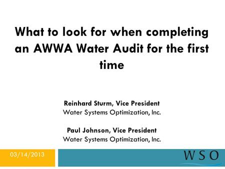 What to look for when completing an AWWA Water Audit for the first time Reinhard Sturm, Vice President Water Systems Optimization, Inc. Paul Johnson, Vice.