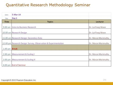 Quantitative Research Methodology Seminar