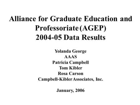 Alliance for Graduate Education and Professoriate (AGEP) 2004-05 Data Results Yolanda George AAAS Patricia Campbell Tom Kibler Rosa Carson Campbell-Kibler.