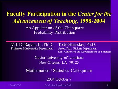2004/10/07Faculty Participation in CAT...1 Faculty Participation in the Center for the Advancement of Teaching, 1998-2004 Xavier University of Louisiana.