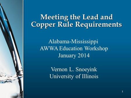 1 1 Meeting the Lead and Copper Rule Requirements Alabama-Mississippi AWWA Education Workshop January 2014 Vernon L. Snoeyink University of Illinois.
