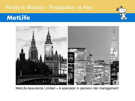 Route to Buyout – Preparation is Key MetLife Assurance Limited – A specialist in pension risk management.