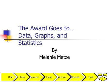 StartTaskProcessLinksAdviceAssessEnd T The Award Goes to… Data, Graphs, and Statistics By Melanie Metze.