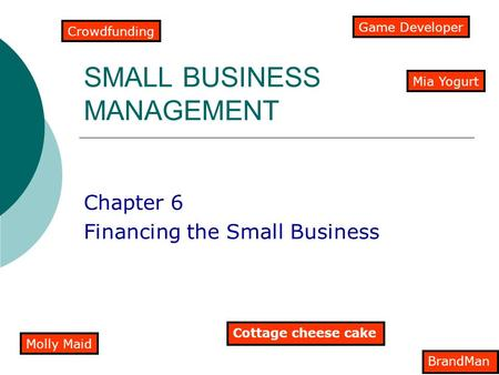 SMALL BUSINESS MANAGEMENT Chapter 6 Financing the Small Business Crowdfunding Cottage cheese cake Molly Maid Game Developer BrandMan Mia Yogurt.