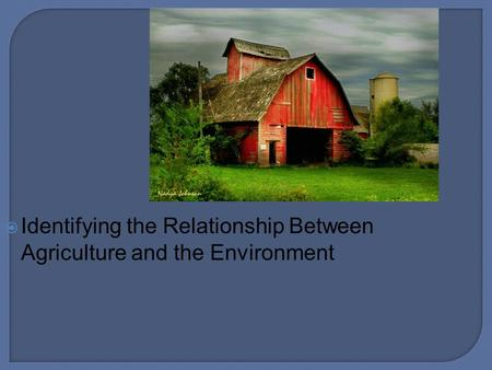  Identifying the Relationship Between Agriculture and the Environment.
