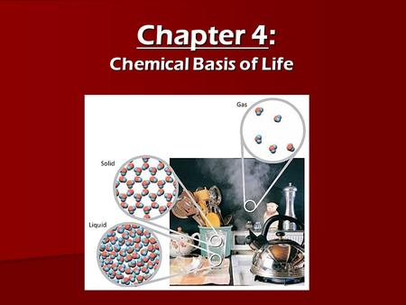 Chapter 4: Chemical Basis of Life.