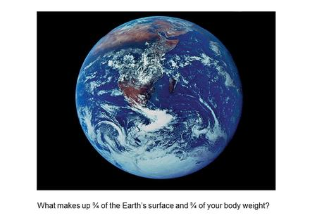 What makes up ¾ of the Earth's surface and ¾ of your body weight?
