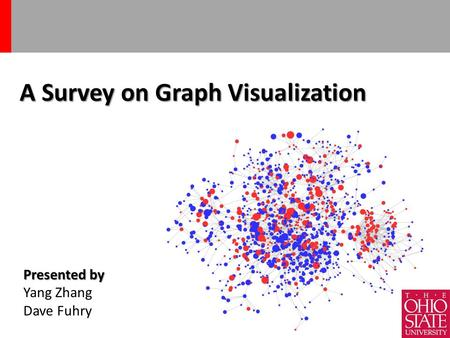 A Survey on Graph Visualization 1 Presented by Yang Zhang Dave Fuhry.