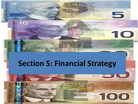 Section 5: Financial Strategy. The Business Plan 1)Executive Summary 2)Market Analysis 3)Resource Analysis 4)Operating Strategy 5)Financial Strategy 6)Contingency.