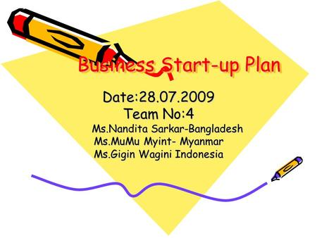 Business Start-up Plan Business Start-up Plan Date:28.07.2009 Team No:4 Ms.Nandita Sarkar-Bangladesh Ms.Nandita Sarkar-Bangladesh Ms.MuMu Myint- Myanmar.