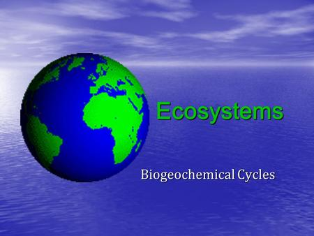 Ecosystems Biogeochemical Cycles. KEY CONCEPT 1  Ecosystems consist of nonliving (abiotic) and living (biotic) components.