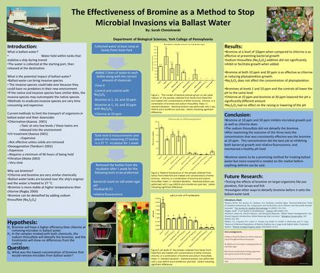 The Effectiveness of Bromine as a Method to Stop Microbial Invasions via Ballast Water By: Sarah Chmielewski Department of Biological Sciences, York College.