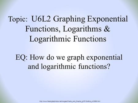 Topic: U6L2 Graphing Exponential Functions, Logarithms & Logarithmic Functions