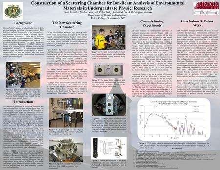 Construction of a Scattering Chamber for Ion-Beam Analysis of Environmental Materials in Undergraduate Physics Research Scott LaBrake, Michael Vineyard,