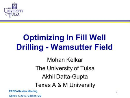 Optimizing In Fill Well Drilling - Wamsutter Field