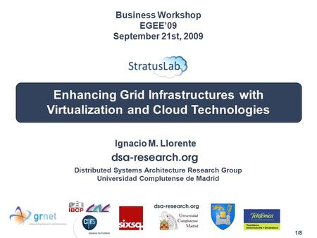 1/8 Enhancing Grid Infrastructures with Virtualization and Cloud Technologies Ignacio M. Llorente Business Workshop EGEE'09 September 21st, 2009 Distributed.
