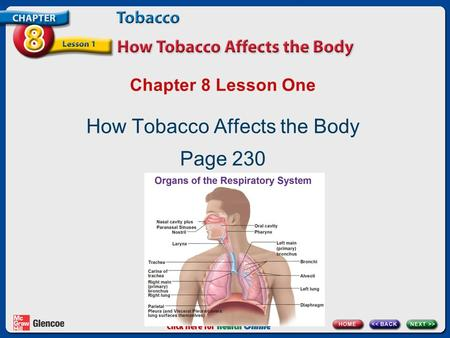 Chapter 8 Lesson One How Tobacco Affects the Body Page 230.