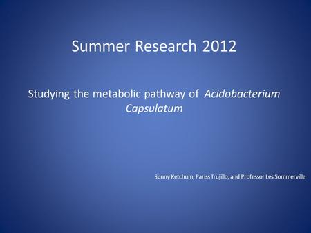 Summer Research 2012 Studying the metabolic pathway of Acidobacterium Capsulatum Sunny Ketchum, Pariss Trujillo, and Professor Les Sommerville.