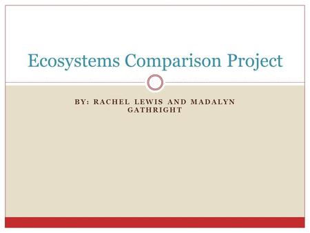 BY: RACHEL LEWIS AND MADALYN GATHRIGHT Ecosystems Comparison Project.