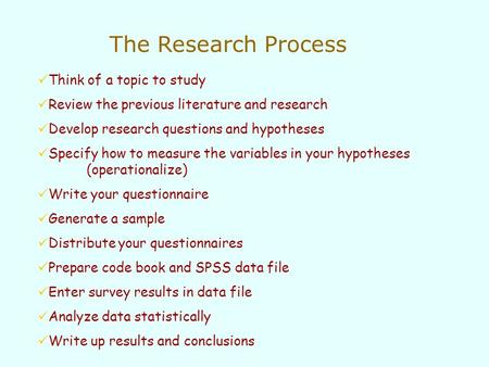 Think of a topic to study Review the previous literature and research Develop research questions and hypotheses Specify how to measure the variables in.