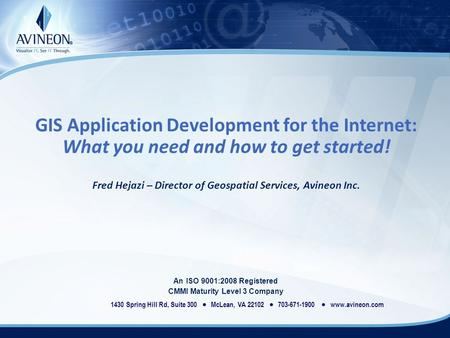 GIS Application Development for the Internet: