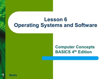 1 Lesson 6 Operating Systems and Software Computer Concepts BASICS 4 th Edition Wells.