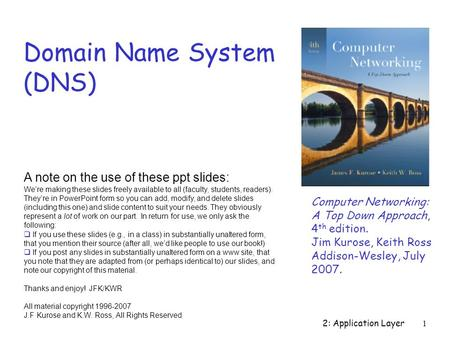 2: Application Layer1 Domain Name System (DNS) Computer Networking: A Top Down Approach, 4 th edition. Jim Kurose, Keith Ross Addison-Wesley, July 2007.