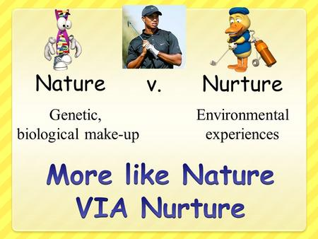 nature vs nurture behaviourism and biological theories The nature vs nurture debate seeks to understand how our personalities and traits are produced by our genetic makeup and biological factors, and how they are shaped by our environment, including our parents, peers, and culture for instance, why do biological children sometimes act like their parents.