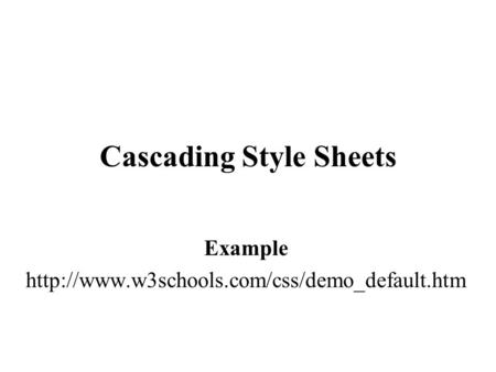 Cascading Style Sheets Example