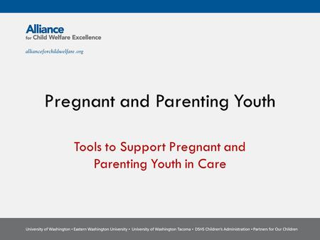 Pregnant and Parenting Youth Tools to Support Pregnant and Parenting Youth in Care.