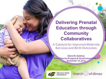 Delivering Prenatal Education through Community Collaboratives A Catalyst for Improved Maternity Services and Birth Outcomes Diane M. Daldrup State Director.