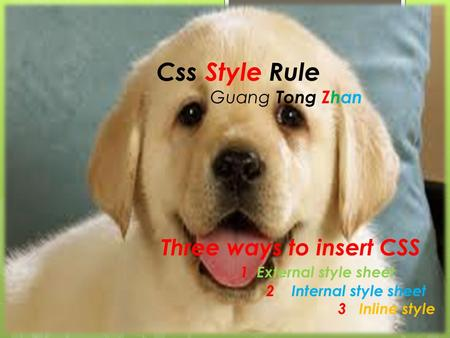 CSS Style Rules Guang Tong, Zhan L;lo'p[ Css Style Rule Guang Tong Zhan Three ways to insert CSS 1 External style sheet 2 Internal style sheet 3 Inline.