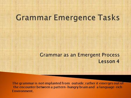 Grammar as an Emergent Process Lesson 4 The grammar is not implanted from outside; rather it emerges out of the encounter between a pattern-hungry brain.