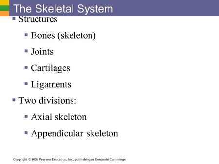 Copyright © 2006 Pearson Education, Inc., publishing as Benjamin Cummings The Skeletal System  Structures  Bones (skeleton)  Joints  Cartilages  Ligaments.