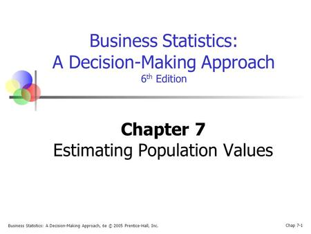 Business Statistics: A Decision-Making Approach, 6e © 2005 Prentice-Hall, Inc. Chap 7-1 Business Statistics: A Decision-Making Approach 6 th Edition Chapter.