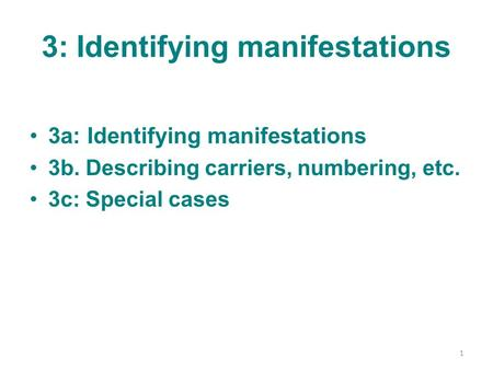 3: Identifying manifestations 3a: Identifying manifestations 3b. Describing carriers, numbering, etc. 3c: Special cases 1.