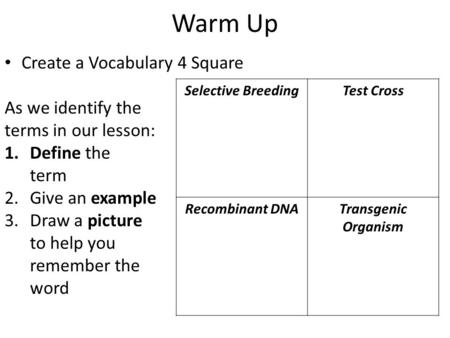 Warm Up Create a Vocabulary 4 Square As we identify the terms in our lesson: 1.Define the term 2. Give an example 3. Draw a picture to help you remember.