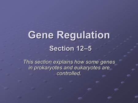 Gene Regulation Section 12–5