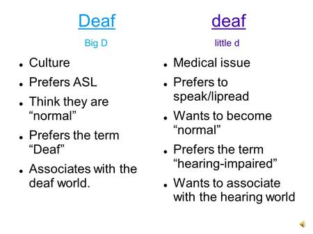 "Deaf deaf Big D little d Culture Prefers ASL Think they are ""normal"""
